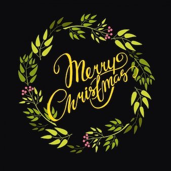 Lettering mery christmas wreath
