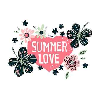 Lettering: summer love - cercado por plantas e flores tropicais. vetor.