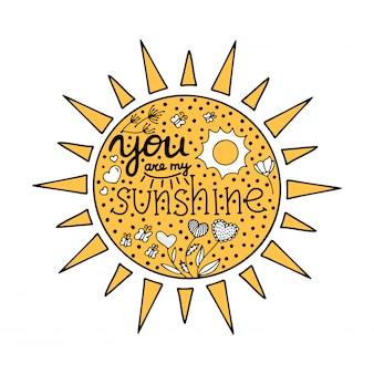 Lettering você é meu raio de sol