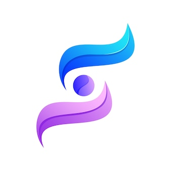 Lettermark abstrato colorido s logotipo premium