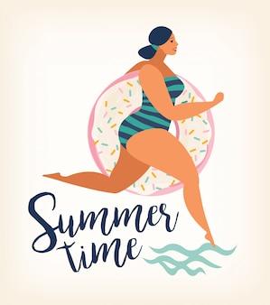 Levanta a menina com flutuadores de piscina inflável donut doce