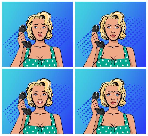Levanta uma mulher no estilo retro antigo falando ao telefone e sentindo emoções diferentes