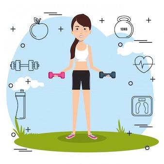 Levantamento de peso da mulher com ícones dos esportes