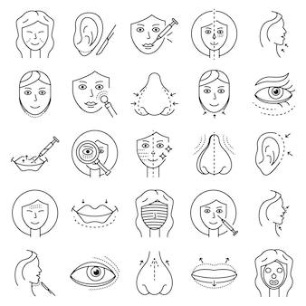 Levantando o conjunto de ícones faciais. conjunto de contorno de ícones de vetor facial de levantamento