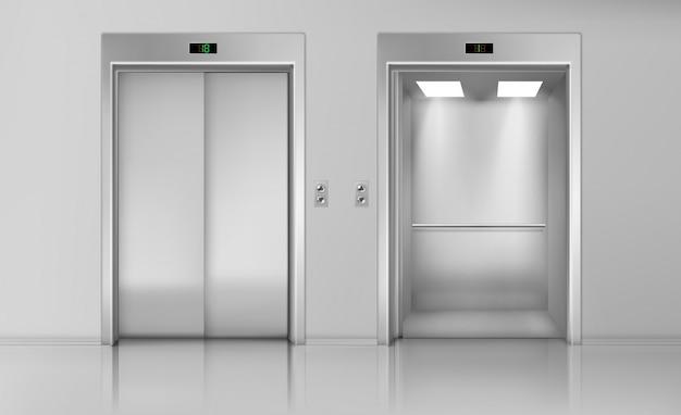 Levante as portas, feche e abra a cabine do elevador vazia