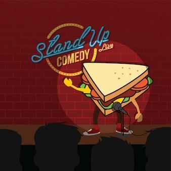 Levante-se comédia sanduíche aberto microfone