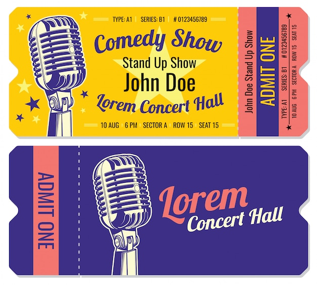 Levante-se modelo de bilhetes de entrada de show de comédia.