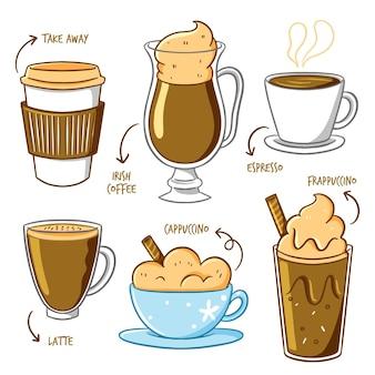 Leve café e café em canecas