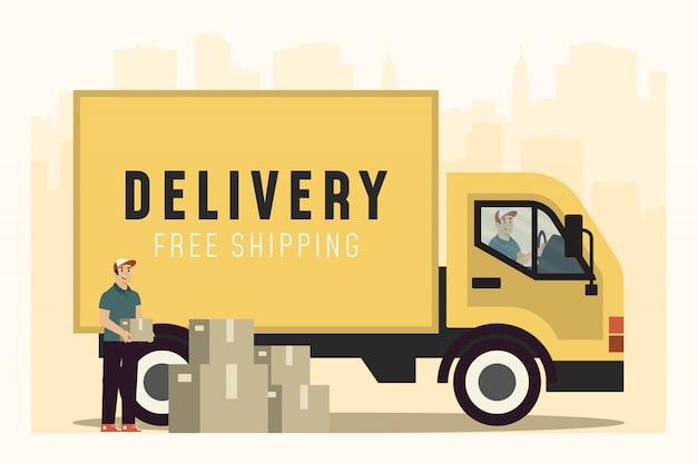 Leve o conceito de entregador no caminhão