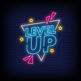 Level up neon sign estilo texto vector
