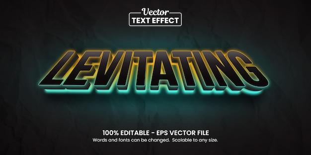 Levitando néon brilhante, efeito de texto editável