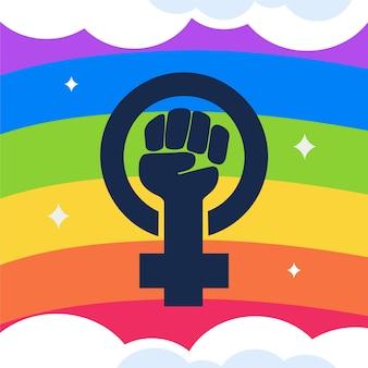 Lgbt + bandeira feminista plana