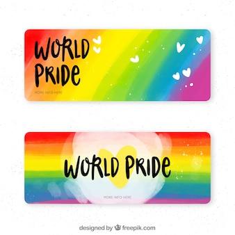 Lgbt orgulho banners na mão desenhada estilo