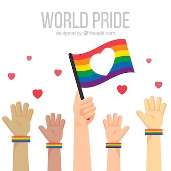 Lgbt orgulho fundo com as mãos e bandeira