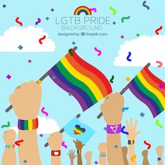 Lgbt orgulho fundo com bandeiras coloridas