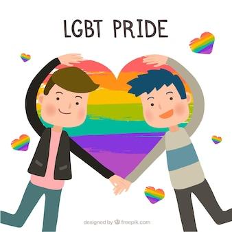 Lgbt orgulho fundo com casal formando coração