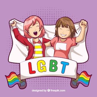 Lgbt orgulho fundo com garotas felizes