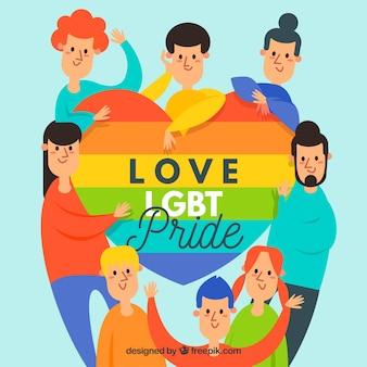 Lgbt orgulho fundo com pessoas felizes