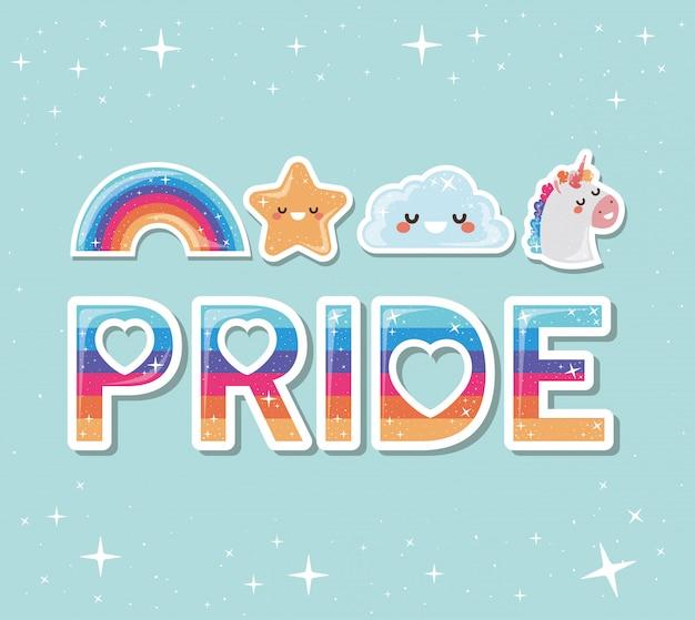 Lgtbi arco-íris estrela nuvem e unicórnio design