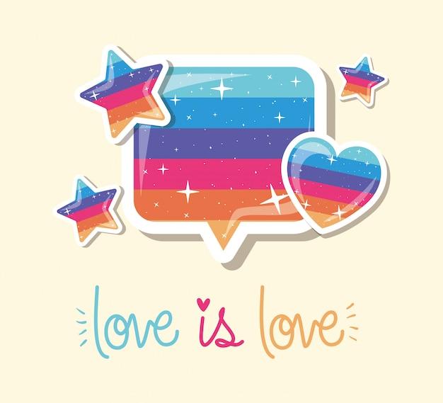 Lgtbi bolha coração estrelas e amor é amor design de texto