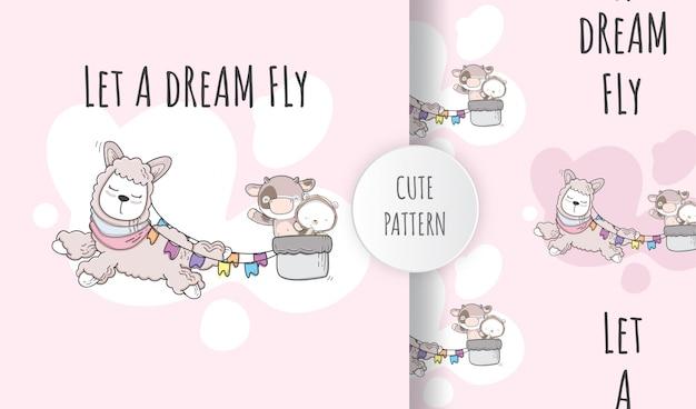 Lhama animal bonito sem costura padrão plana voando