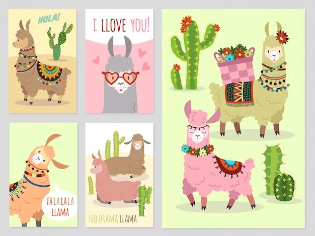 Lhama. bebê lhamas bonito alpaca e cactos selvagem peru camelo, conjunto de convite para festa de menina