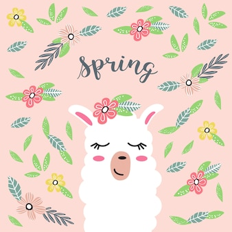 Lhama bonito dos desenhos animados com flores. primavera.