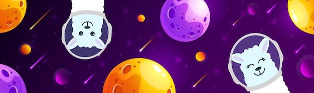 Lhama bonito dos desenhos animados no espaço com estrelas. alpaca no espaço. fundo da galáxia.