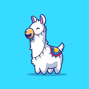 Lhama bonito icon ilustração. personagem de desenho animado de mascote de alpaca. conceito de ícone animal isolado