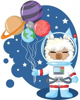 Lhama de astronauta com ilustração do planeta balão