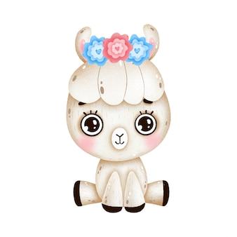 Lhama de bebê bonito dos desenhos animados com flores na cabeça