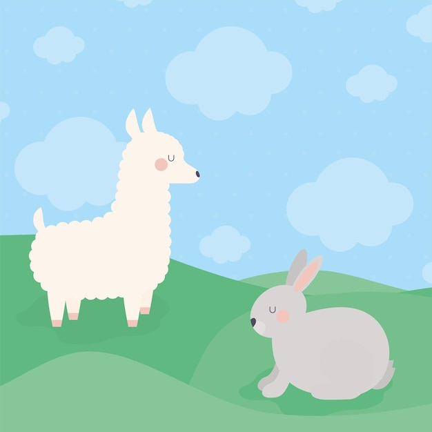 Lhama e coelho Vetor Premium