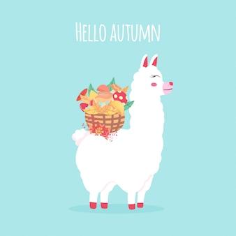 Lhama engraçada bonita, alpaca com flor e cesta de vime de cogumelos. olá letras de outono