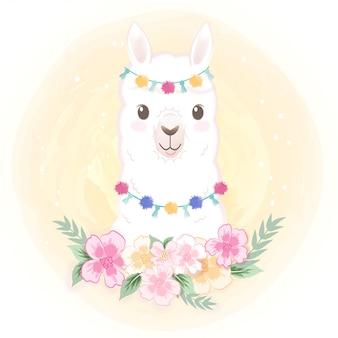 Lhama fofa com flor mão ilustrações desenhadas