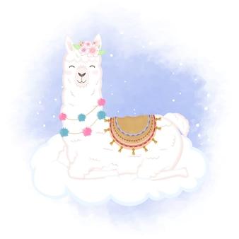 Lhama fofa na nuvem mão ilustrações desenhadas