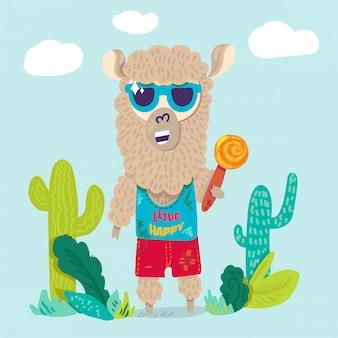 Lhama legal em personagem de desenho animado plana de óculos de sol