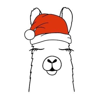 Lhama ou alpaca de natal no chapéu de papai noel. ilustração em vetor.