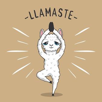 Lhama yoga cartoon llamaste alpaca vrikshasana pose árvore