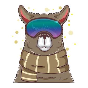 Lhamas bonitos com óculos de viseira
