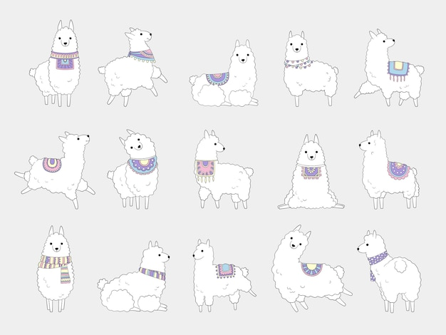 Lhamas engraçadas. camelo de alpaca fofo e animais étnicos de lamas selvagens vector personagens de doodle. ilustração da vida selvagem de lhama, lama de zoológico de fazenda, guanaco doméstico