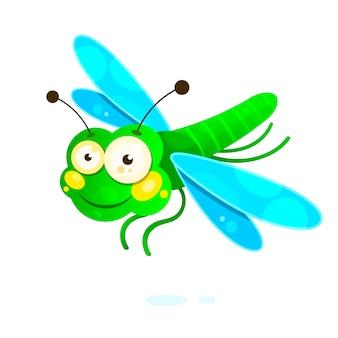 Libélula com asas coloridas bonito