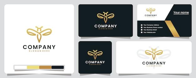 Libélula, dourado, luxo, design de logotipo e cartão de visita