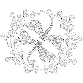 Libélula e flores ilustração de esboço desenhado à mão para livro de colorir adulto