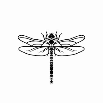 Libélula logotipo símbolo estêncil desenho tatuagem ilustração em vetor
