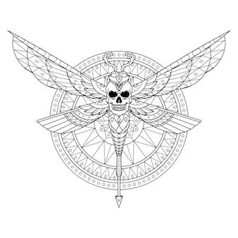 Libélula mandala zentangle ilustração no estilo lineal