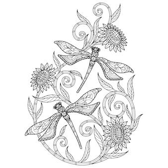 Libélula no fundo branco esboço desenhado à mão para livro de colorir adulto