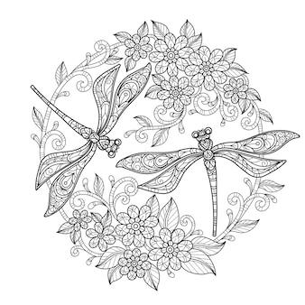 Libélula no jardim de flores. ilustração de esboço desenhado à mão para livro de colorir adulto