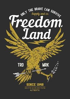 Liberdade águia emblema escudo vector ilustração independência dia