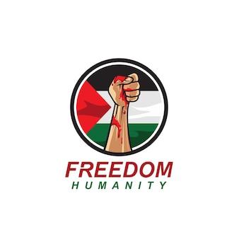 Liberdade com logotipo da bandeira da palestina