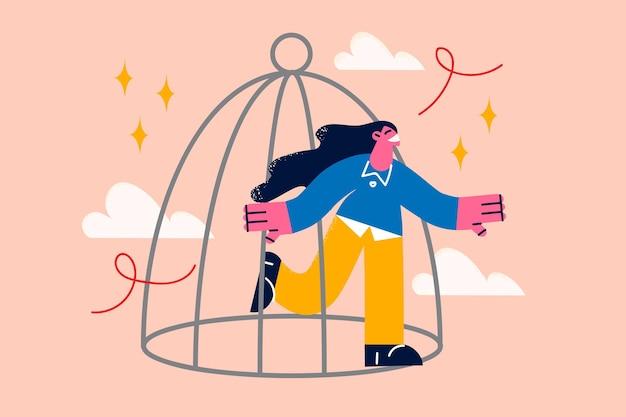 Liberdade e novo conceito de oportunidades de vida. jovem mulher sorridente saindo da gaiola, sentindo-se confiante e cheia de energia e ilustração vetorial de ideias
